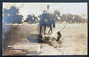 Mint Usa Real Picture Postcard Bulldogging Miles City Mt Round Up Pf Photo