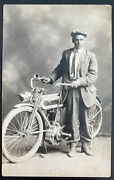 Mint Usa Real Picture Postcard Early Motorcycle And Driver