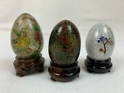 Lot Of 3 Eggs - Chinese Cloisonne Egg With Wooden Stand - 397