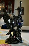 Dragon On Rock With Crystal Letter Opener Sword Figure Statue 11 X 5 X 4.5