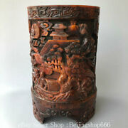 10.4 Marked Old Chinese Ox Horn Carving Dynasty Human Tree House Brush Pot