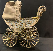 Antique Marklin Germany1910 Painted Metaldoll Buggy Pram Carriage 3 1/2andrdquox3andrdquox1/2andrdquo