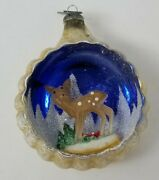 Vintage Mercury Glass 3d Diorama Indent Reindeer Christmas Ornament Italy