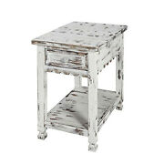 Bolton Furniture Country Cottage Chairside Table, White Antique Finish