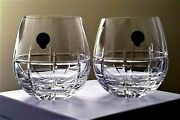 Waterford Crystal Cluin New 12 Oz Stemless Wine Glass Pair New Gift Boxed