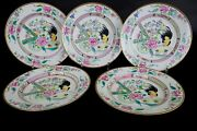 Set Of 5 Famille Rose Chicken Plates 19th Century