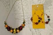 Costume Jewellery Set Statement Necklace And Dangle Earring Set -amber Green Red