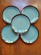 Home Trends Lagoon Turquoise Salad Plate 5 Brown Edge 8 1/8
