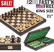Large Vintage Wooden Chess Set Wood Board Hand Carved Crafted Folding Game 21