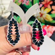 Colleen Lopez Sterling Silver Black Spinel And White Zircon Drop Earrings