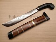 Indonesian Golok Parang Betawi High Carbon Steel Hand Forged Brass Wood Sheath