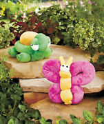 New Green Turtle And Pink Butterfly Overstuffed Plush Dog Puppy Squeaky Toy Bundle