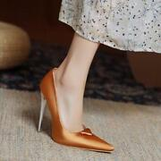 Womens Trendy Pointy Toe Satin Dress Shoes Stiletto High Heels Wedding Shoes