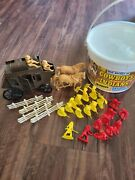 Vintage Processed Plastic Stage Coach Horses Cowboys And Indians Figures In Bucket