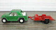 Vintage Tootsie Toy Jeepster Green W/ Tootsie Toy Motorcycle Trailer Usa Made