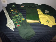 Vintage 1940s 1950s Girl Scout Sash W/pin And Merit Badges Book Hats And Scarfs Lot