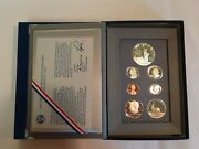 1986 Prestige Proof Set 7 Coin Statue Of Liberty Silver Dollar With Box And Coa