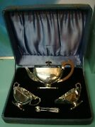 Antique Art Deco Sterling Silver Tea Pot Set In Box Complete Matching Hall Marks