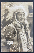 Mint Usa Rppc Real Picture Postcard Native American Indian Chief Monitou