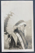 Mint Usa Rppc Real Picture Postcard Native American Indian Chief Red Bird