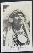 Mint Usa Rppc Real Picture Postcard Native American Indian Chief Big Tree