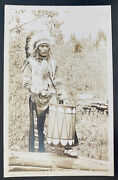 Mint Usa Rppc Real Picture Postcard Native American Indian Drummer Clatworthy