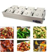 110v 8-pan Commercial Bain-marie Buffet Food Warmer Stainless Steel 4 Deep New