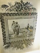 Antique Door With Etched Glass Window Man Woman Water Sea Ships Planet Earth