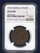 Australia George V 1929 1 Penny Coin Almost Uncirculated Certified Ngc Au-50-bn
