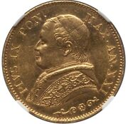 Italy Papal States 1866 20 Lire Gold Coin Choice Uncirculated Certified Ngc Ms63