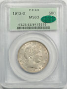1912 D 50c Barber Half Dollar Pcgs Ms 63 Uncirculated Ogh Cac Approved Cert5915