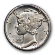 1916 S 10c Mercury Dime Pcgs Au 58+ Cac Approved Everymanand039s Set Coin