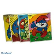 Vintage Playskool Wooden Puzzles 4 Charlie Brown And Snoopy, Papa Smurf, Warmly
