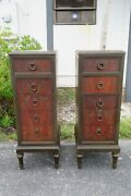 Early 1900s French Extra Tall Pair Of Nightstands Side Tables 1978