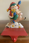 Midwest Santa Claus Riding Reindeer Christmas Stocking Holder Cast Iron 11922-8