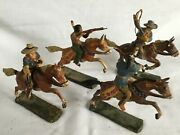 Elastolin Vintage Cowboys And Indians With Horses - Quantity Of 4 Sets - Rare