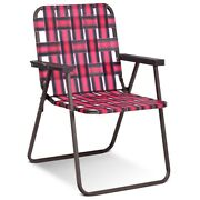 6 Pcs Folding Beach Chair Camping Lawn Webbing Chair-red - Color Red