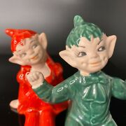 Vintage Pair 2 1950and039s Gilner Christmas Pixie Elf Figurine Red Girl Green Boy