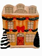 Vtg/ant Christmas Cookie Jar Winter Decorated House With Trees/garland/bows 9x8