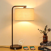 Side Table Lamp With Dual Usb Ports Dimmable Bedside Lamp Modern Nightstand For