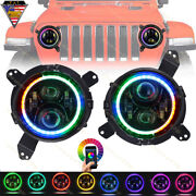 2x7inch Rgb Led Headlights 7and039and039 Mount Bracket Ring For 18-20 Jeep Wrangler Jl Jlu