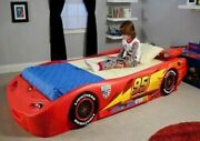 Pixar Cars Lightning Mcqueen Toddler Bed Kids Furniture Twin Size Race Car Red