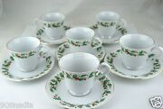 Pearl Noel Liling China Cup/saucer Christmas Holly Black Backstamp Set 12pc A