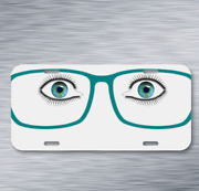 Glasses Eyes See Face Eyelashes On License Plate Car Front Auto Tag