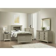 4 Pc Champagne Metallic Gold Led Embossed Twin Bed Ns Dresser Furniture Set