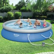 Swimming Pool Set Round Inflatable For Family Outdoor Backyard Fun Summer Time