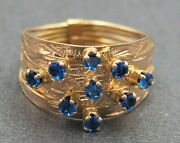 14k Gold And Synthetic Blue Sapphire Women's Ring Vintage Jewellery Val @ 1010.00