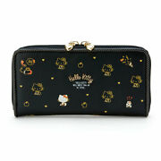 Sanrio Hello Kitty Long Wallet Japan Black Pu Leather Official 20x2.5 X10cm F/s