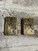 Pair Of Vintage Brass Zippo Lighters American Eagle In Flight/statue Of Liberty