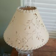 Vintage Ivory Cut And Pierced Paper Lamp Shade With Velvet Trim